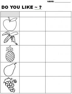 Do you like fruit worksheet
