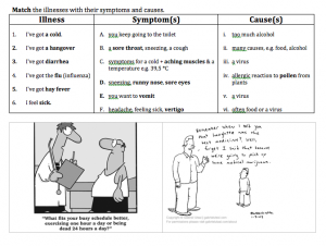 worksheet on illnesses, symptoms, and causes