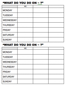 Days of the week worksheet (English class)