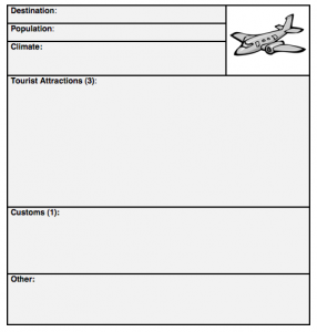 travel agency template for ESL classroom activity