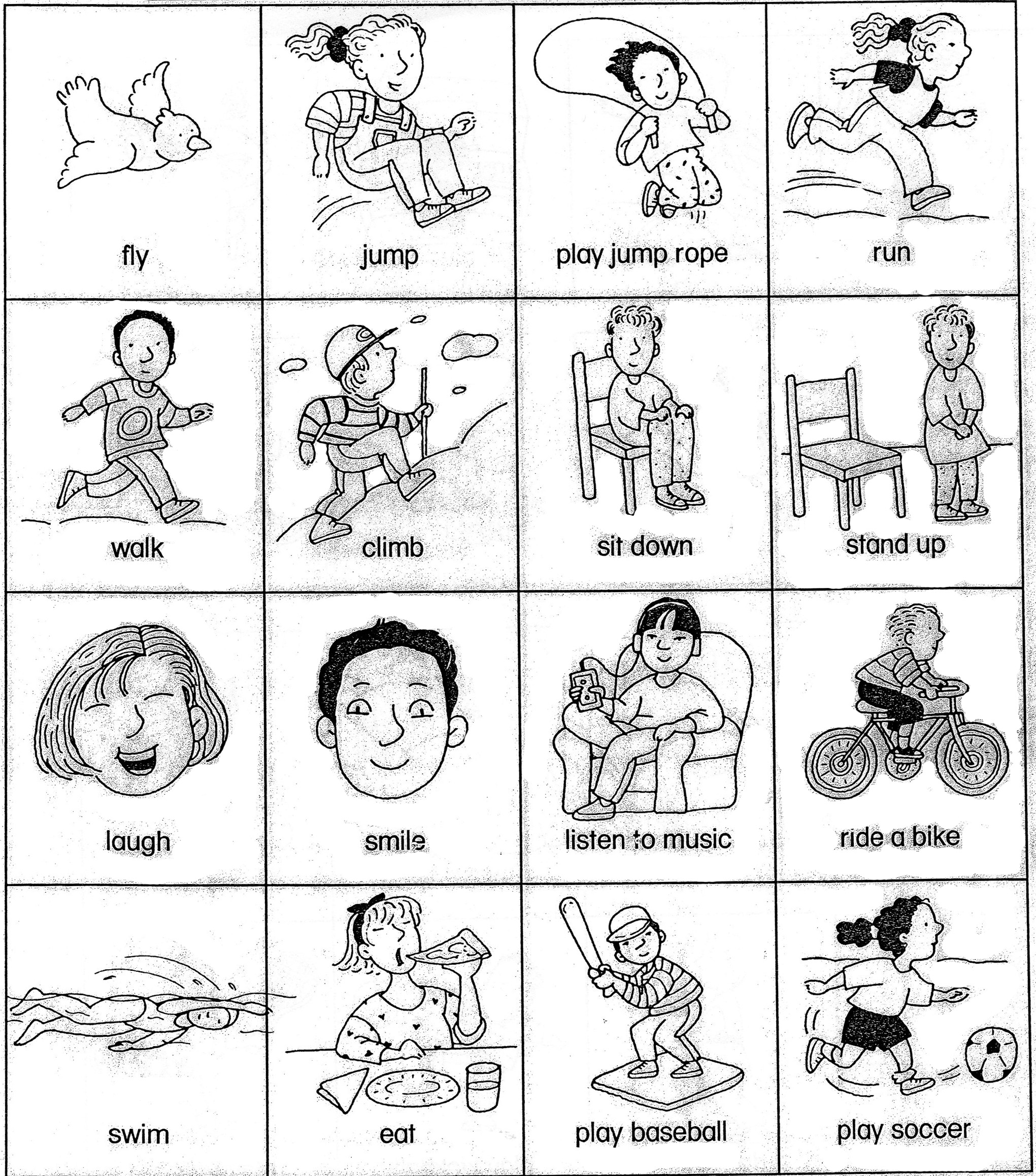 Action verbs homework – Action Words Worksheets for Kindergarten