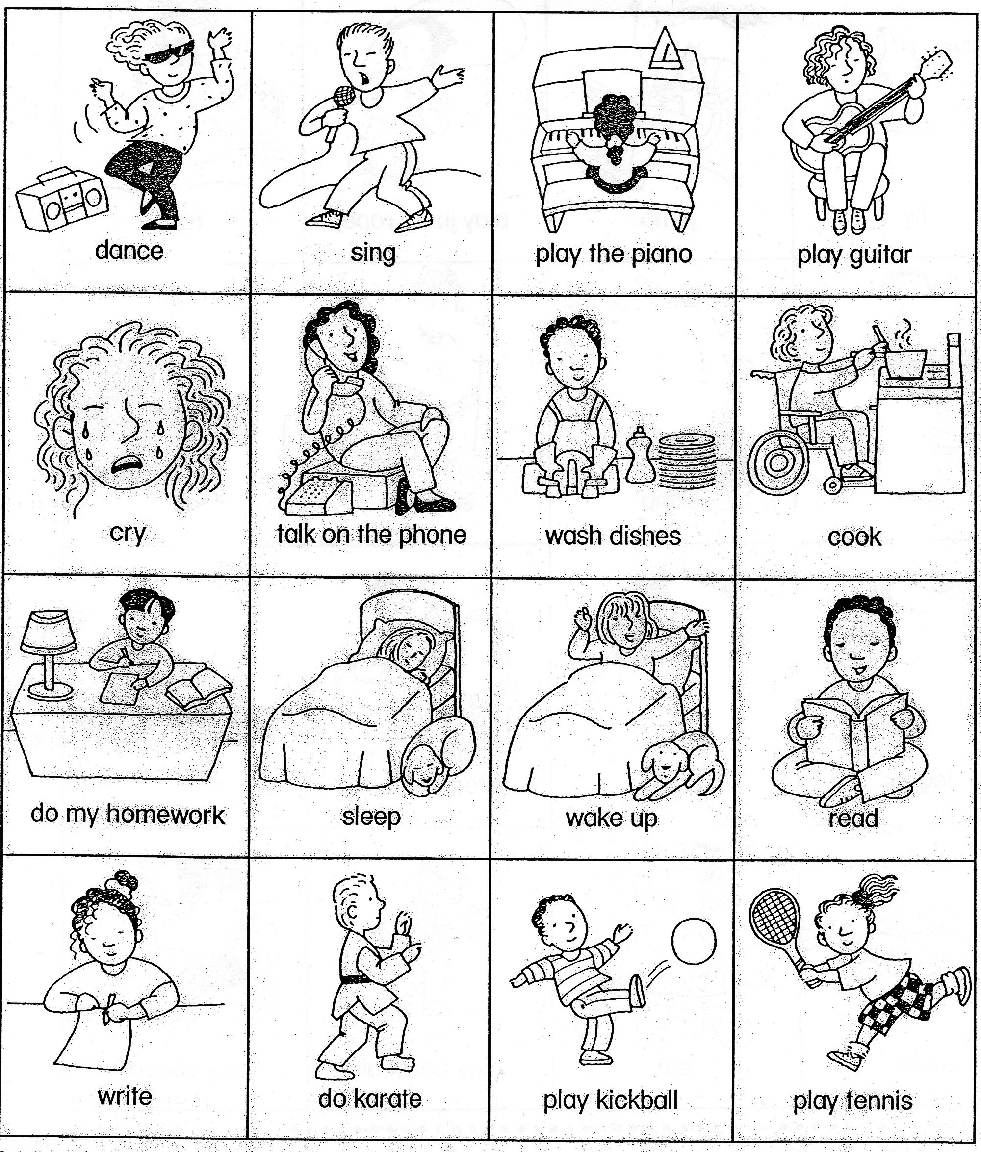 Free Coloring Pages Of Verbs