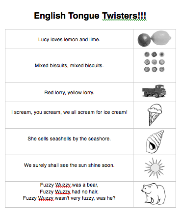 Beginner Tongue Twisters Worksheet & Activities for ESL/EFL Class