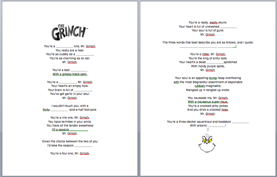 Grinch Christmas Song fill-in-the-blanks Worksheet (ESL)