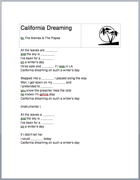 California Dreamin' Worksheet & Lyrics (ESL/EFL) - English ...