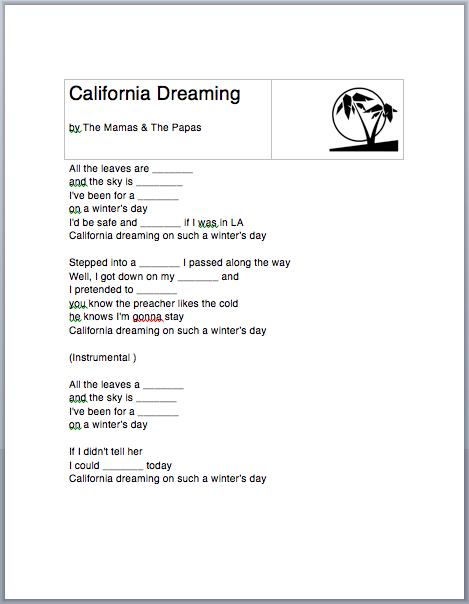 California Dreamin' worksheet for ESL/EFL