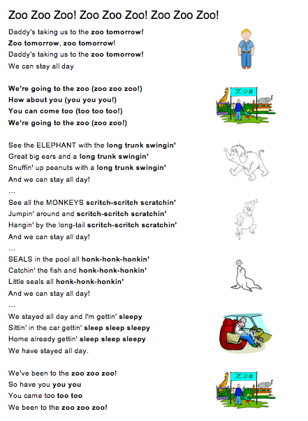 Going to the Zoo! Song sheet for ESL Children