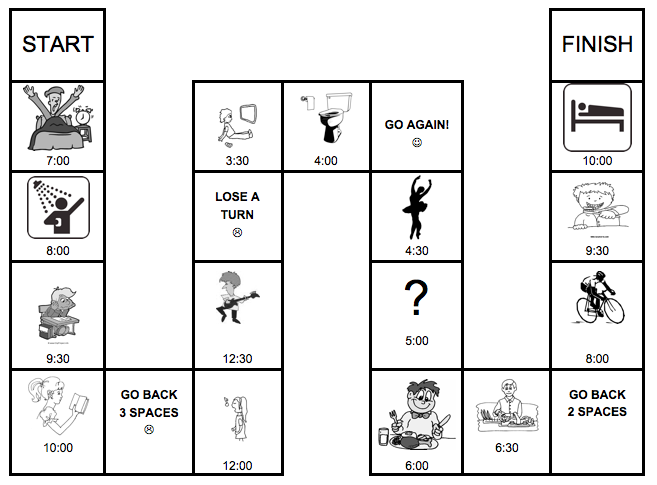 Daily Routine Board Game (ESL/EFL Present Simple Practice in English)