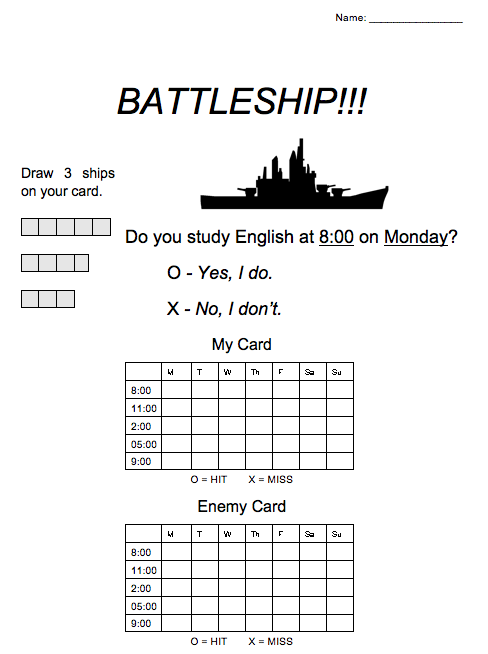 Esl Game Battleship For Prepositions Of Time At On