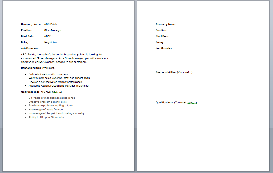 job posting template for job interview practice esl efl