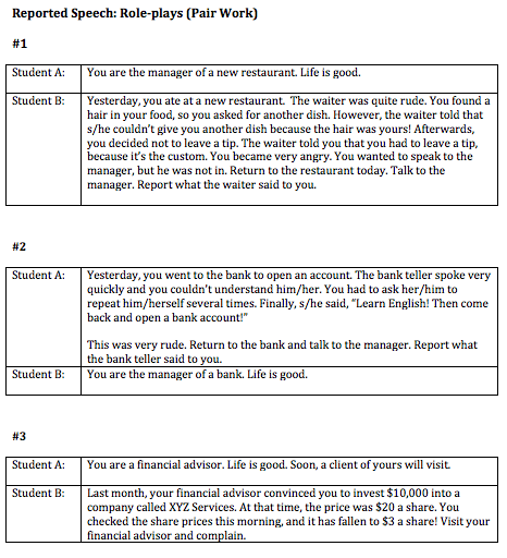 role-plays for practicing reported speech