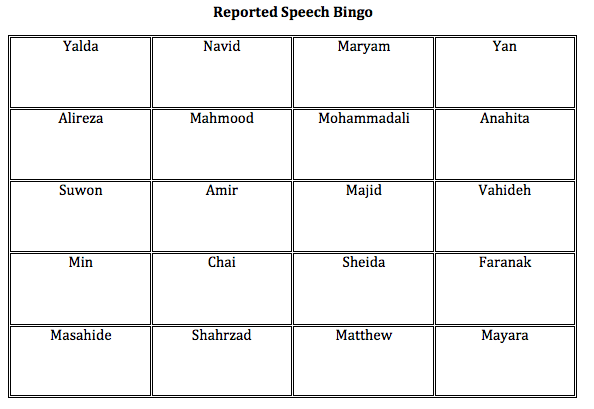 bingo game for reported speech