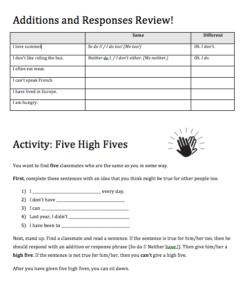 Speaking Activity: Five High Fives (So, too, neither, not either)