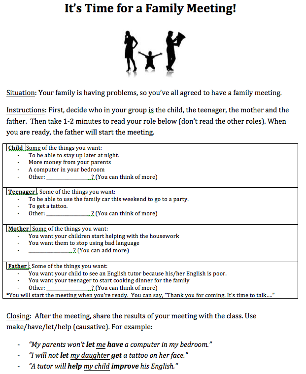 speaking activity to practice the causative
