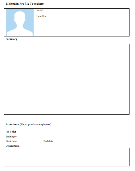 Blank linkedin profile template esl for Dating site description template
