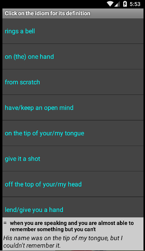 Essential North American Idioms Free Android Application English