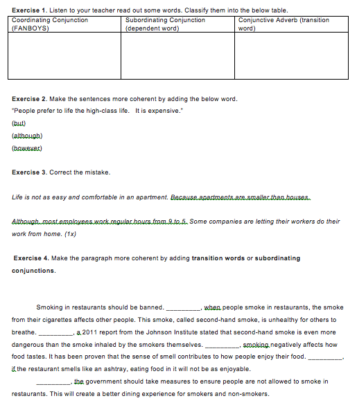 Academic Writing: Conjunctions and Conjunctive Adverbs Worksheet ...