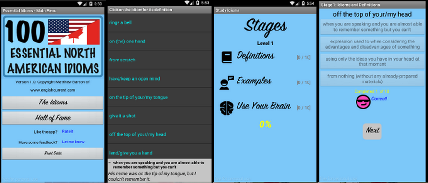 Preview of an Android App for Idioms