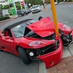a crashed sportscar