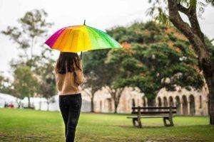 A girl under an umbrella