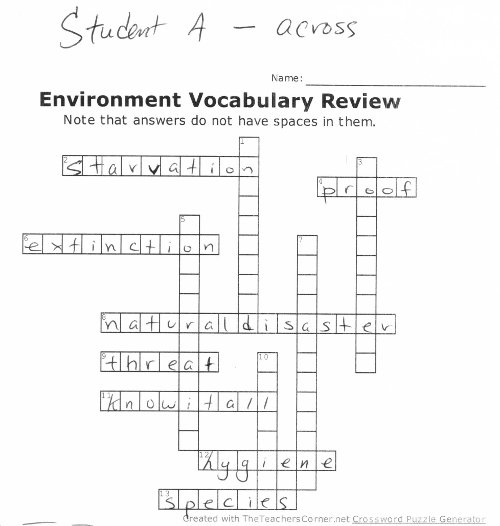 crossword game to review vocabulary