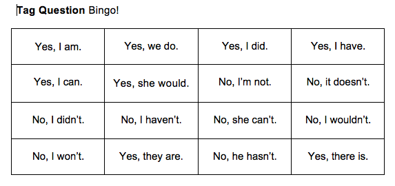 play Bingo to practice speaking English