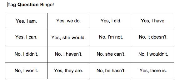 play Bingo to practice speaking English