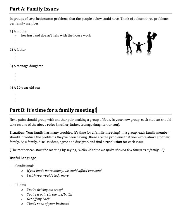 family issues family meeting speaking activity intermediate esl. Black Bedroom Furniture Sets. Home Design Ideas