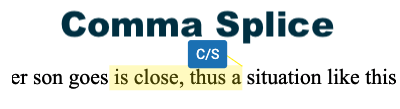 a comma splice (writing error)