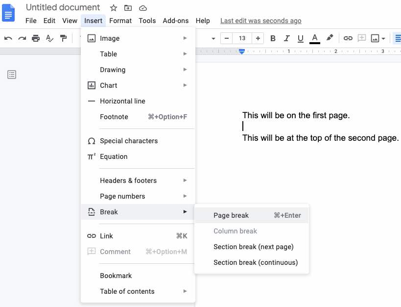 Inserting a page break in Google Docs