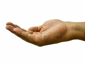 a hand borrowing money